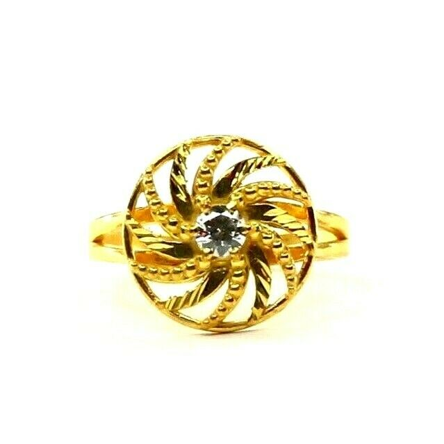 22k Ring Solid Gold ELEGANT Charm Ladies Fan Band  SIZE 7.75