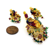 22k Solid Gold ELEGANT PEACOCK ENAMEL Pendant Set EARRINGS Antique Design S57 | Royal Dubai Jewellers