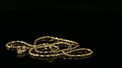"22k Chain Yellow Solid Gold Chain Necklace Snake Design Charm Length 18"" c3191"