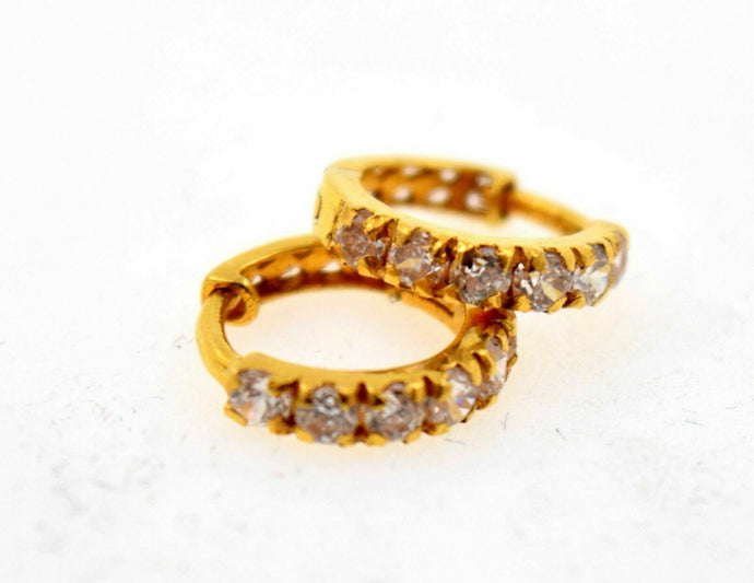 22k 22ct Solid Gold FANCY ZIRCONIA TINY HOOP BALI EARRING WITH BOX mf | Royal Dubai Jewellers