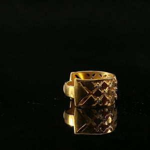 "22k Ring Solid Gold ELEGANT Charm Ladies Wide Band SIZE 7.25 ""RESIZABLE"" r2134"