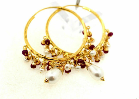 22k22ct solid gold ROUND RUBY PEARL STONES DROP DANGLING Earrings HOOPS  E5389 | Royal Dubai Jewellers