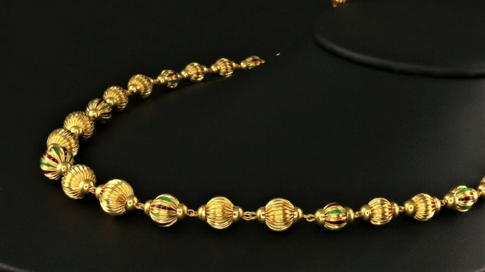 22k Yellow Solid Gold Chain Necklace Antique Ball Design Length 30 inch C1107 | Royal Dubai Jewellers