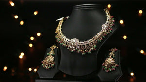 22k Beautiful Solid Gold Classic South Indian Necklace Set For Ladies LS152