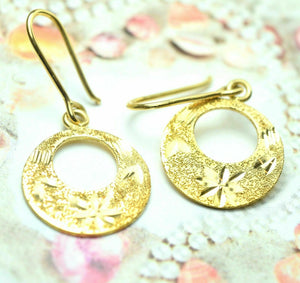 22k Solid Gold ELEGANT ROUND HOOK EARRINGS DANGLING Hanging Classic Design mf | Royal Dubai Jewellers
