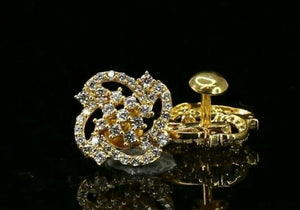 22k Earrings Solid Gold ELEGANT Simple Stones Encrusted Studs Design E8123