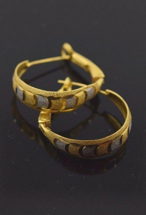 22k Solid gold ELEGANT Hoop EARRINGS Two Tone E387 | Royal Dubai Jewellers