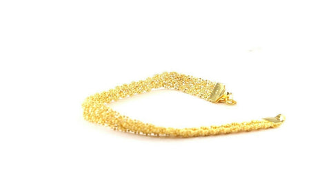 22k Bracelet Solid Gold Simple Charm Popcorn Design LENGTH 8 inch B1066 | Royal Dubai Jewellers