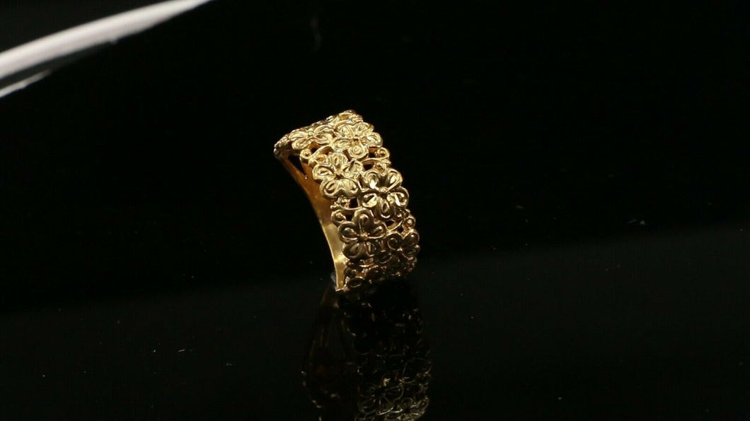 22k Ring Solid Gold ELEGANT Charm Woman Floral Band  SIZE 8