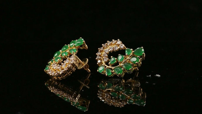 22k Earring Solid Gold ELEGANT Simple Studs With Emerald Stones Design E6024 | Royal Dubai Jewellers