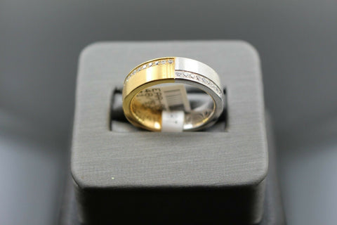 18k Solid Gold Elegant Ladies Modern Zirconia Shiny Finish Band Ring R9475m | Royal Dubai Jewellers