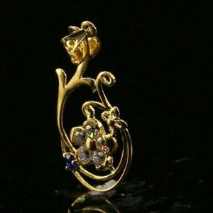 22k 22ct Solid Gold ELEGANT Simple Floral Charm LOCKET Pendant P1453 | Royal Dubai Jewellers