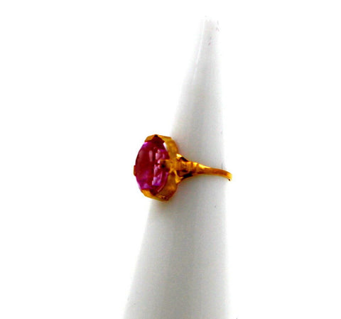 "22k 22ct Solid Gold BEAUTIFUL BABY Ring Pink Stone SIZE 0.9 ""RESIZABLE"" r1225 