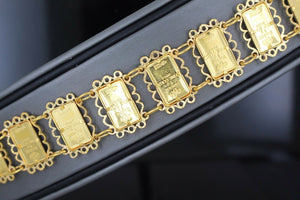 Gold 22k with 24k 1g pamp bar lady fortuna Ladies CHARM Bar Bracelet bangle B669 | Royal Dubai Jewellers