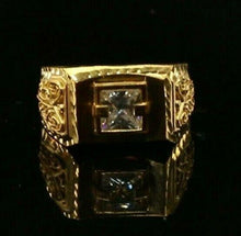 22ct 22k Solid Gold Elegant Square Filigree with Stone Men Ring Size R2033mon | Royal Dubai Jewellers