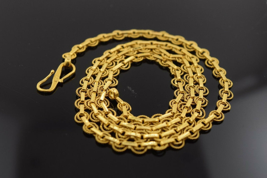 22k Yellow Solid Gold Chain Rope Necklace 4.5mm c110 Antique Design | Royal Dubai Jewellers