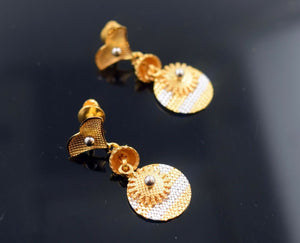 22k Solid Gold ELEGANT LONG EARRINGS HANGING with Classic Design E657 | Royal Dubai Jewellers