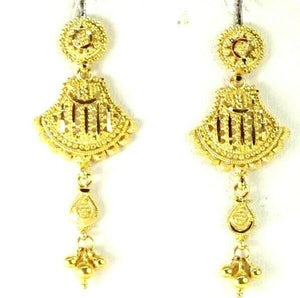 22k Earrings Solid Gold ELEGANT Simple Antique Diamond Cut Filigree Design e3862