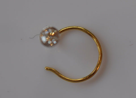 Authentic 18K Yellow Gold Nose Ring Round-Cut-Diamond VS2 n114 | Forever22karat