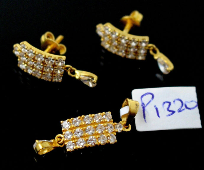 22k 22ct Solid Gold ELEGANT Rectangle PENDANT SET ZIRCONIA Design  P1320 | Royal Dubai Jewellers