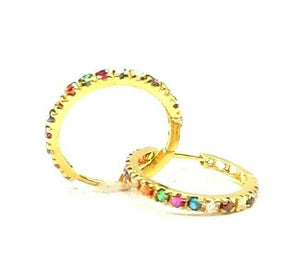 22k Earrings Solid Gold ELEGANT Simple Multi Color Stones Hoop Design E6321 | Royal Dubai Jewellers