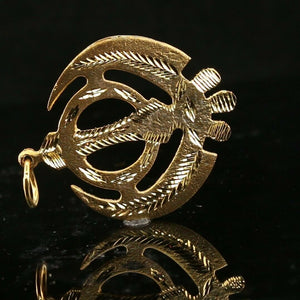 22k Pendant Solid Gold ELEGANT Simple Diamond Cut Religious Sikh Pendant P1525