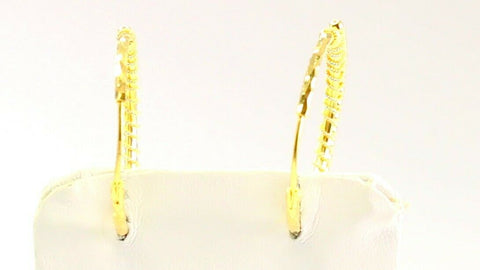 22k Earrings Solid Gold ELEGANT Simple Diamond Cut Hoop Design e7336