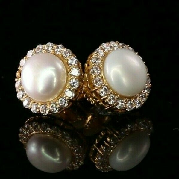 22k Earrings Solid Gold ELEGANT Simple Round Pearl Stone Studs Design e7309