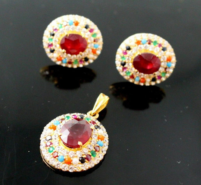 22k22ct NATURAL OVAL RUBY NAVRATAN STONE ZIRCONIA Pendant SET EARRINGS  P837 | Royal Dubai Jewellers