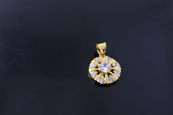 22k 22ct Solid Gold ZIRCONIA ROUND Pendant BEAUTIFUL DESIGN p749 | Royal Dubai Jewellers