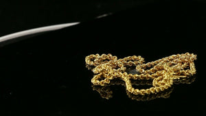"22k Chain Yellow Solid Gold Chain Necklace Rope Design Charm Length 22"" c3197"