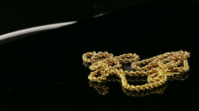 22k Chain Yellow Solid Gold Chain Necklace Rope Design Charm Length 22