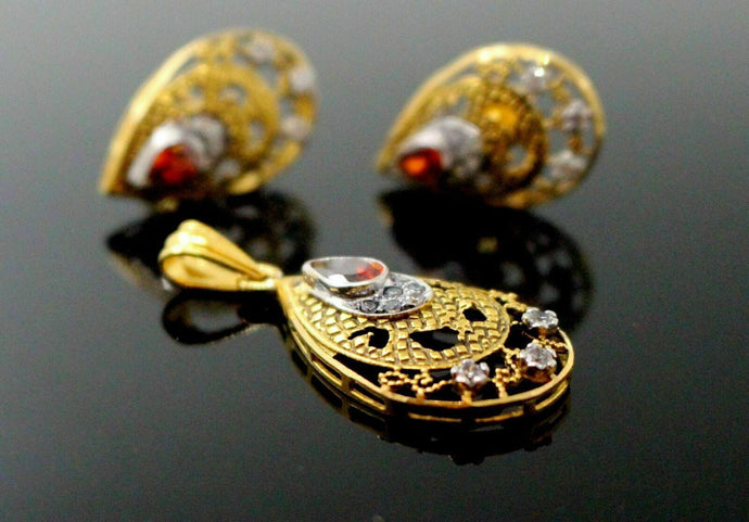 22K 22ct SOLID GOLD ruby ZERCONIA clustered antique finish PENDANT SET P1233 | Royal Dubai Jewellers