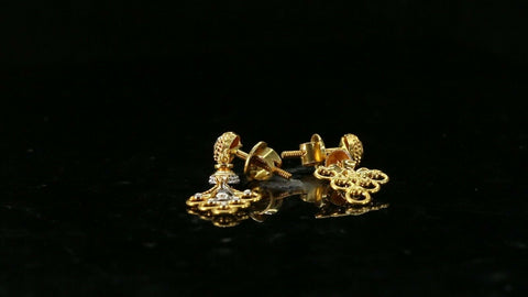 22k Earrings Solid Gold ELEGANT Simple Traditional Style Studs Design e3842