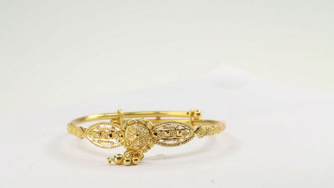 22k Bangle Solid Gold ELEGANT Children Bangle Adjustable Size 1.7 inch CB1192 | Royal Dubai Jewellers