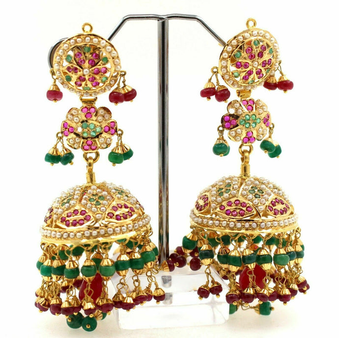 22k 22ct Solid Gold JADAU JHUMKA PEARL EMERALD RUBY DROP DANGLING Earrings E5384 | Royal Dubai Jewellers