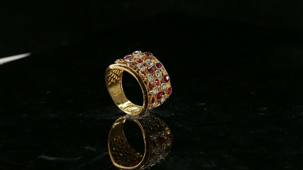 22k Ring Solid Gold ELEGANT Charm Simple Ring SIZE 6.75