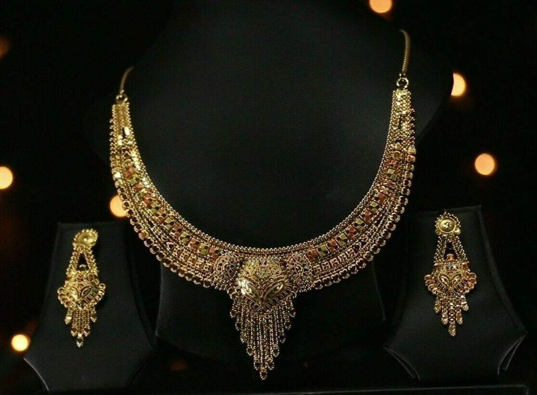 22k Solid Gold Classic Multi Color Filigree Necklace Set For Ladies LS203