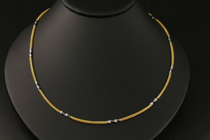 22k Yellow Solid Gold Chain Necklace  Two Tone Twist Design Length 20 inch C126 | Royal Dubai Jewellers