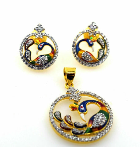 22k 22ct Solid Gold ELEGANT STONE ENAMEL PEACOCK Pendant Set EARRING S03 | Royal Dubai Jewellers
