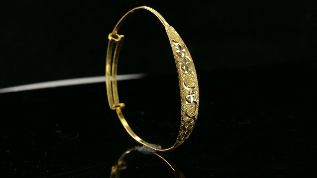 22k Bangle Solid Gold Simple Children Diamond Cut Bangle Adjustable b1306