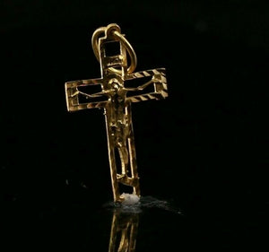 22k Pendant Solid Gold ELEGANT Simple Diamond Cut Crucifixion  Pendant P2149mon