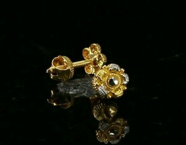 22k Earrings Solid Gold ELEGANT Simple Two Tone Studs Design E8037
