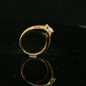 "22k Ring Solid Gold ELEGANT Charm Ladies Ring Solitaire SIZE 6 ""RESIZABLE"" r2185"