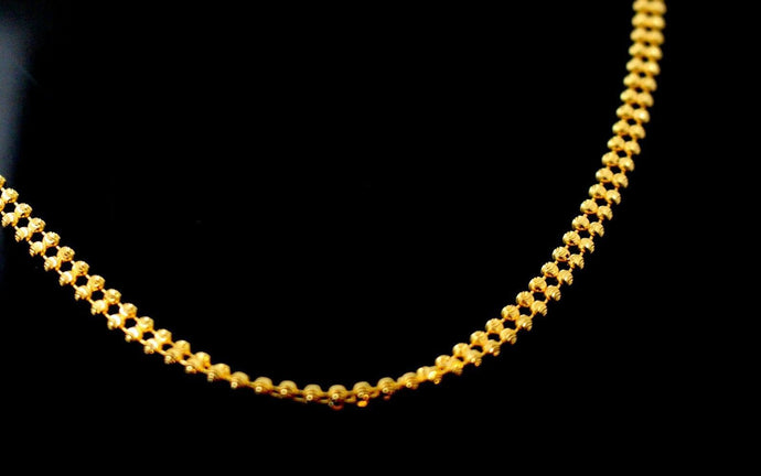 22k Chain Yellow Solid Gold Rope Necklace Simple Beads Design 3.30mm c850 | Royal Dubai Jewellers