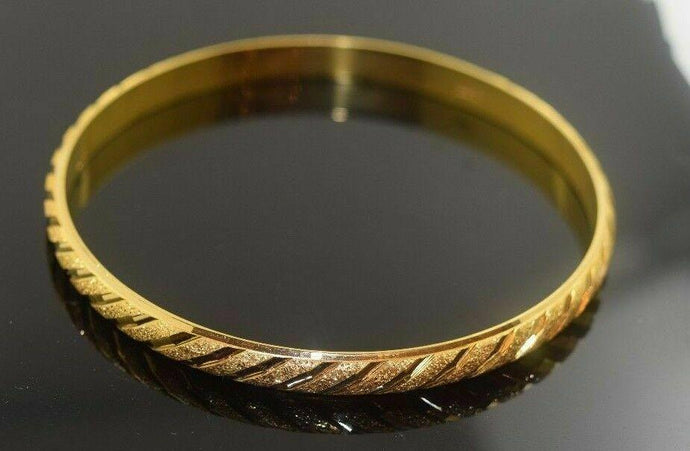 22k Solid Gold ELEGANT WOMEN BANGLE BRACELET Size 2.5 inch B310 | Royal Dubai Jwellers