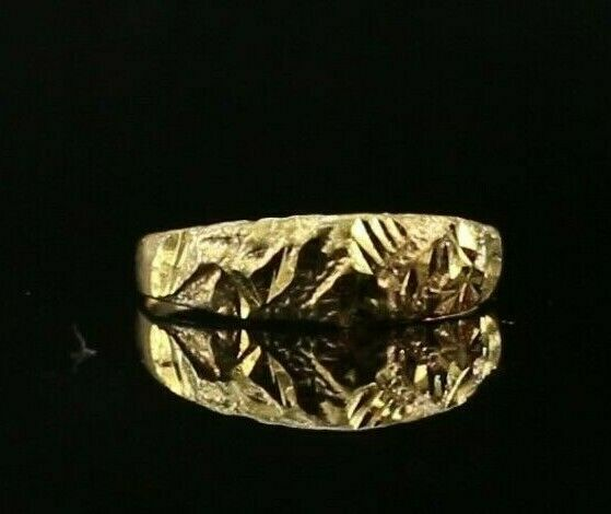 22k Ring Solid Gold ELEGANT Charm Rough Finish Band  SIZE 5.25