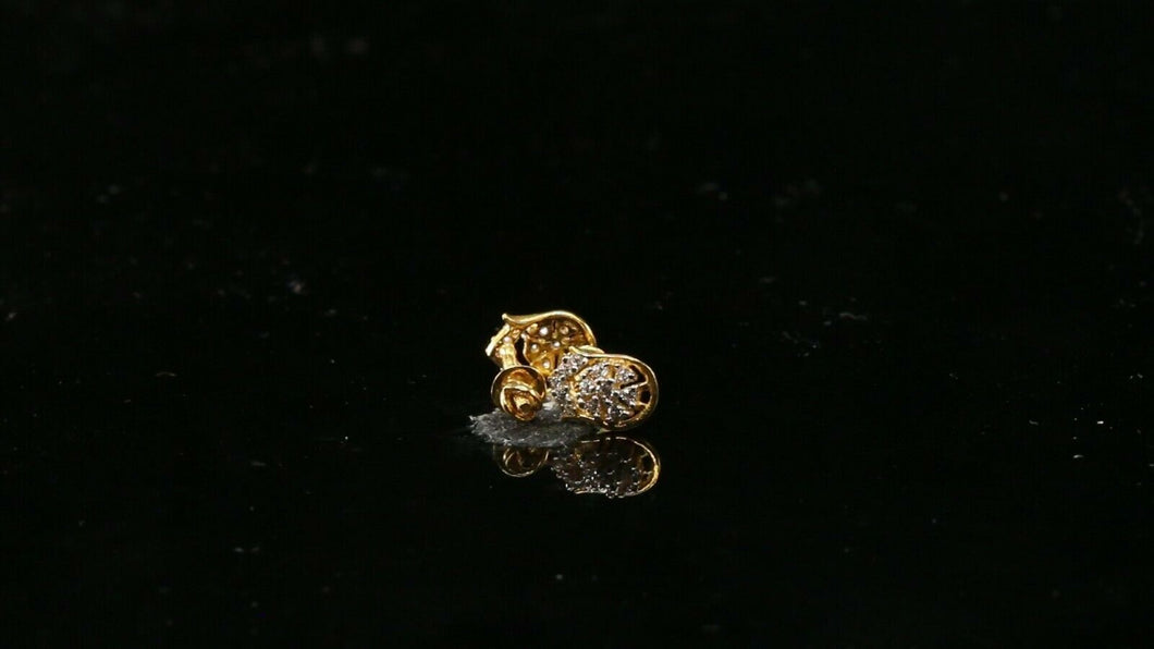22k Earring Solid Gold ELEGANT Simple Filigree Studs With Stones Design E7291
