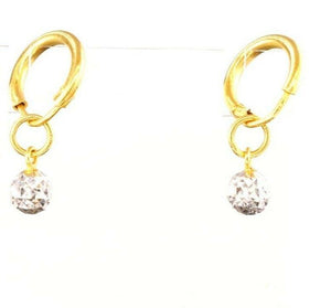 22k 22ct Solid Gold Elegant Ladies Hoop EARRINGS Two Tone With Balls  E5947 | Royal Dubai Jewellers
