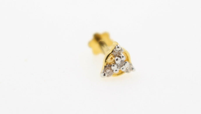 Authentic 18K Yellow Gold Charm Nose Pin Stud Diamond VS2 n323 | Forever22karat